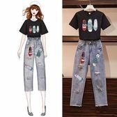 特賣款不退換中大尺碼M-4XL短袖長褲兩件套大碼女裝2019夏裝新款兩件套裝4F034A-0292