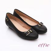 effie 輕透美型 牛皮皮飾條帶楔型低跟鞋 黑色