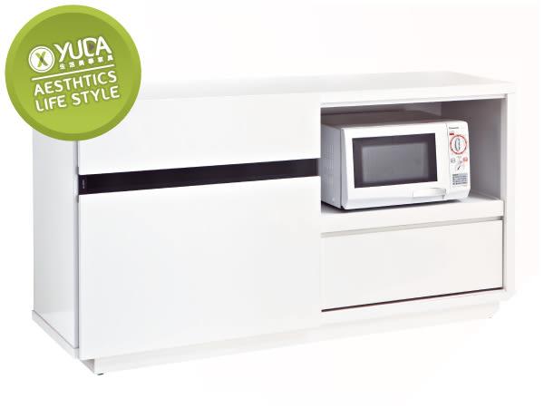 【YUDA】伊莉莎白 木心板 5尺 純白色 波麗漆 強化黑玻璃 餐櫃/收納櫃/置物櫃 J8S 222-3