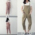 吊帶褲新款洋氣學生褲子韓版寬鬆休閒直筒燈芯絨背帶褲女垮褲潮 夏季新品