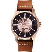 RELAX TIME RT62系列 人動電能地球腕錶-玫塊金x咖啡45mm RT-62K-9