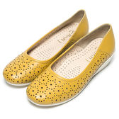 DIANA 百搭原色--俏麗星星鏤空真皮楔型鞋-黃★特價商品恕不能換貨★