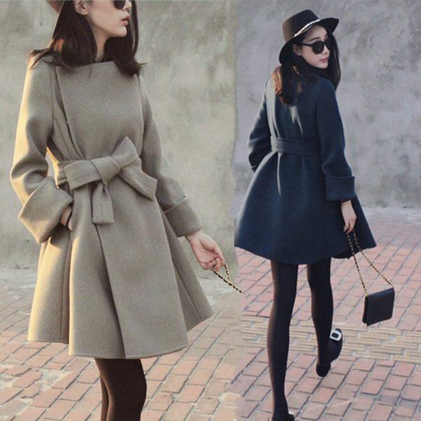 秋冬季原宿風矮個子毛呢外套女中長款呢子大衣女 糖果時尚