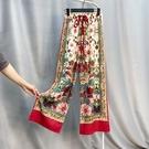 寬管褲 民族風闊腿褲泰國波西米亞雪紡褲子女寬鬆顯瘦沙灘褲度假長褲花褲
