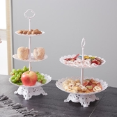 塑膠水果盤家用客廳三層蛋糕架歐式乾果盤下午茶點心台甜品架雙層 美好生活居家館