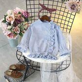 女童釘珠氣質條紋襯衫女童長袖休閒時尚上衣