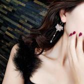 新年鉅惠 耳圈女氣質韓國簡約個性長款流蘇水晶吊墜耳墜氣質百搭網紅耳環