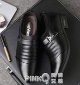 男士皮鞋男英倫韓版尖頭潮流冬季正裝商務休閒青年加絨黑色男鞋子  【PINKQ】