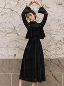 連身裙 毛衣裙子女秋冬維多利亞法式少女復古金絲絨法國小眾連身裙兩件套 曼慕衣櫃