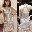 雷射光銀色亮片削肩小禮服洋裝    ♥ ...