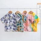 男寶寶短袖襯衫夏款中小童薄款開衫新款男童沙灘度假碎花襯衫 嬌糖小屋