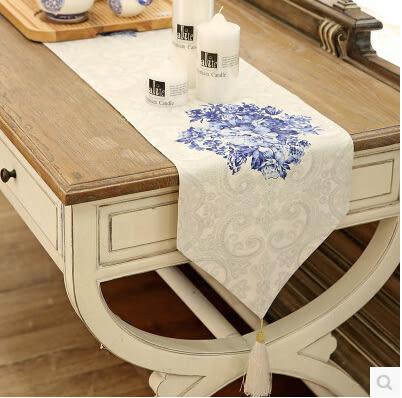簡約復古青花瓷桌旗 餐桌布藝 茶几蓋布 電視櫃巾裝飾