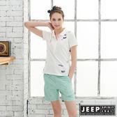 【JEEP】女裝圖騰轉印吸濕排汗POLO衫-白色
