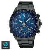 《下標贈G-SHOCK》WIRED 科技感碼表三眼藍面黑鋼男錶 水晶玻璃鏡面 公司貨 AY8003X1 | 名人鐘錶
