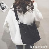 帆布包托特包女新款日韓文藝布袋包ulzzang帆布側背大包寬帶斜背包  聖誕節