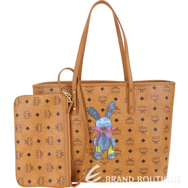 MCM Stark Rabbit 中款 兔子圖案購物包(附萬用包/棕色) 1840730-B3