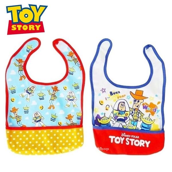 日本限定 迪士尼 玩具總動員 胡迪 巴斯光年 三眼怪 繪圖風 幼童 圍兜兜 2入套組