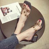 拖鞋女夏外穿新款韓版百搭社會時尚一字拖高跟粗跟透明涼拖鞋