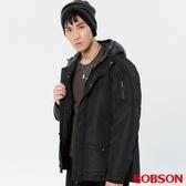 BOBSON 男款連帽中長版絲棉外套(38036-88)