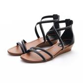 MICHELLE PARK 微時尚優雅水鑽真皮舒適羅馬休閒涼鞋-黑色