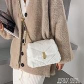 側背包 毛絨包包女新款潮冬季毛毛包單肩法國小眾設計時尚練條側背包 polygirl