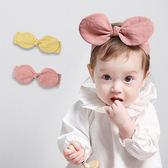 純色棉麻感大蝴蝶結髮帶 兒童髮飾 純色髮帶 造型彈性髮帶