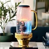 北歐涼水壺玻璃耐高溫水壺家用涼水玻璃水壺涼水杯套裝家用冷水壺YYJ 傑克型男館