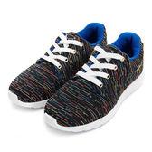 DISNEY 舞動活力 繽紛彩條針織休閒鞋-黑藍(女)