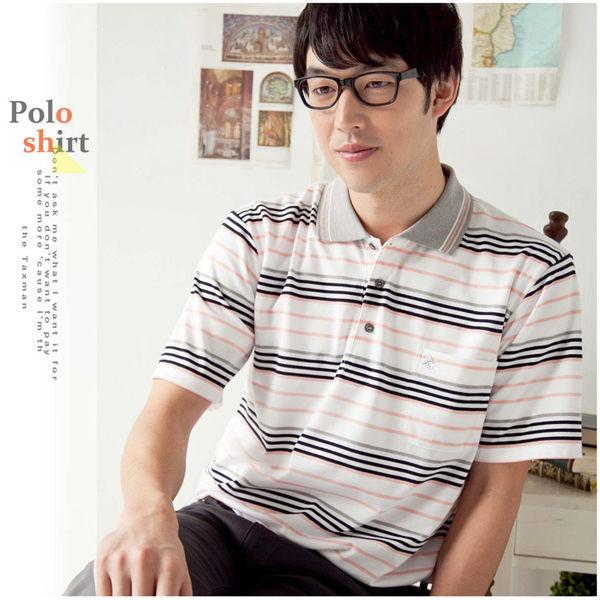 【大盤大】(P11671) 男 夏POLO衫 春 短袖 橫條紋棉衫 高爾夫 有領休閒衫 口袋衫【2XL號斷貨】