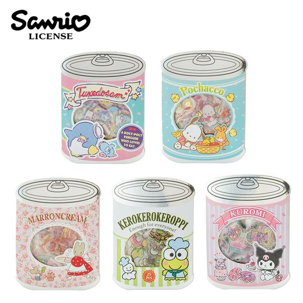 【日本正版】三麗鷗 罐頭造型 貼紙包 手帳貼 貼紙 山姆企鵝 大眼蛙 000427 000991 001035 001165 001301