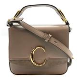 【台中米蘭站】全新品 CHLOE C Bag 滑面牛皮拚麂皮手提斜背二用包-小 (灰)