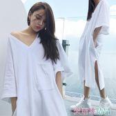 睡裙 睡裙女夏季棉質正韓洋裝睡衣中袖t恤V領性感長裙可外穿春季白色 愛麗絲