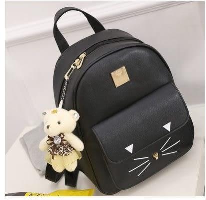 預購-可愛貓咪學院風皮革雙肩後背包