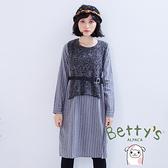 betty's貝蒂思 針織拼接腰間收腰洋裝(灰色)