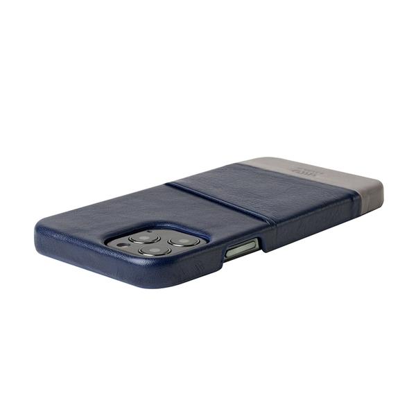 Alto iPhone 12 / 12 Pro 通用款 真皮手機殼背蓋 6.1吋 Metro - 海軍藍/礫石灰【可加購客製雷雕】