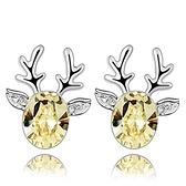 水晶耳環 925純銀(耳針式)-馴鹿鑲鑽生日情人節禮物女飾品3色73bd14【時尚巴黎】