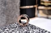 戒指-歐美黑色陶瓷戒指男女情侶款鈦鋼鍍玫瑰金食指環戒子 東川崎町