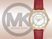 【時間道】MICHAEL KORS 奢華典雅羅馬刻度珠框腕錶 / 白蝶貝面晶鑽金框紅皮 (MK2756)免運費