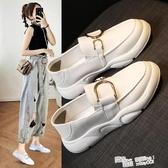 小白鞋女秋季2020夏季新款休閒百搭兩穿豆豆鞋一腳蹬軟底平底單鞋 萬聖節
