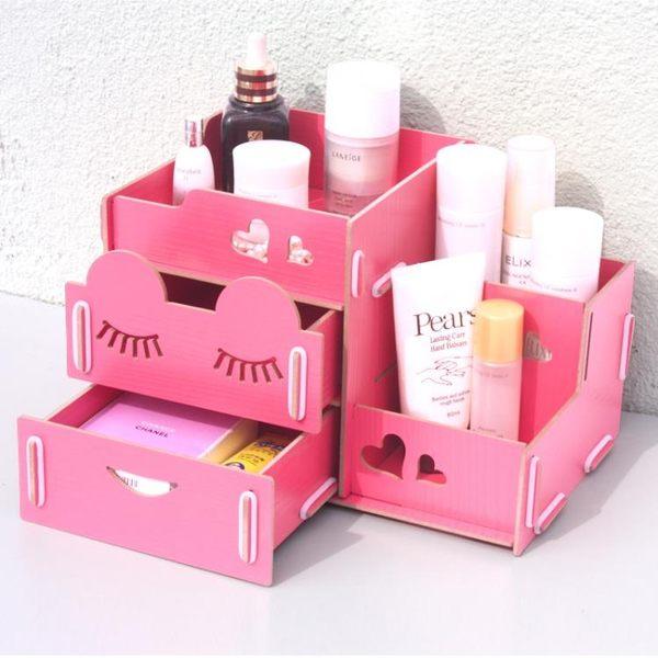 藍格子 創意抽屜式木制化妝品收納盒桌面收納盒整理盒儲物盒大號 SSJJG【時尚家居館】