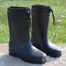 時尚冬季新款時尚仿皮男士雨鞋高筒加絨保暖雨靴機車水鞋套鞋 小時光生活館