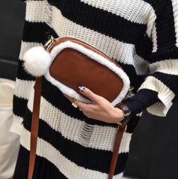 預購-韓版秋冬款羊羔毛絨可愛肩背斜背包