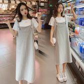 孕婦夏裝上衣新款潮媽中長款孕婦洋裝時尚夏天裙子兩件套裝  俏女孩