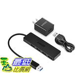 [106美國直購] Anker Ultra Slim 4-Port USB 3.0 Data Hub with 12W Power Adapter