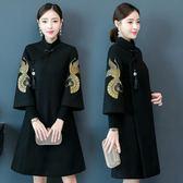 秋冬中國風刺繡復古盤扣式改良式旗袍毛呢外套呢子大衣加厚夾棉洋裝