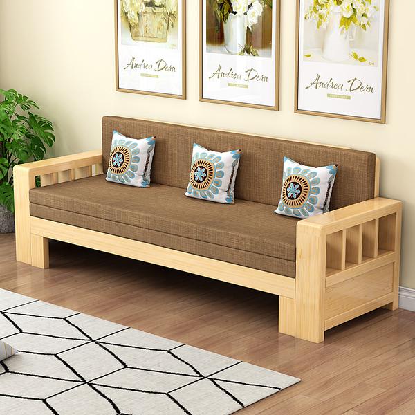 實木可折疊沙發床兩用單人客廳小戶型坐臥床伸縮多功能推拉沙發床 WJ米家