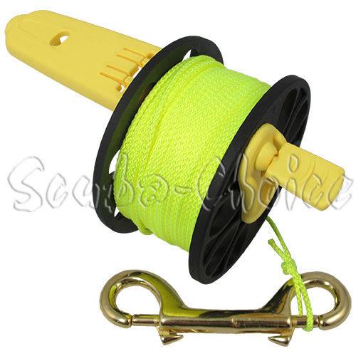 潛水 摺疊式手把 捲線器/ 捲線軸/ 手捲輪 50M長 黃線 浮潛 深潛