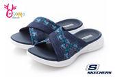 SKECHERS女款拖鞋 交叉型休閒風格 GOGA MAX高回彈力鞋墊 健走拖鞋P8228#藍色◆OSOME奧森童鞋