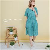 洋裝  夏氛夢幻泡泡棉麻洋裝  二色-小C館日系