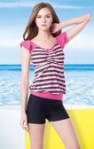 【出清專區 】梅林泳裝↘成本出清~大女橫條胸前抽繩荷葉袖配藍褲二件式 NO.M4472